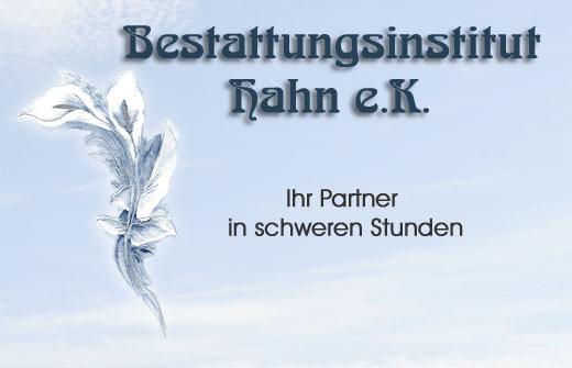 Schriftzug Bestattungsinstitut Hahn e.K. mit Lilie als Logo